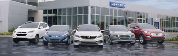 Hyundai lineup including cars and SUVs