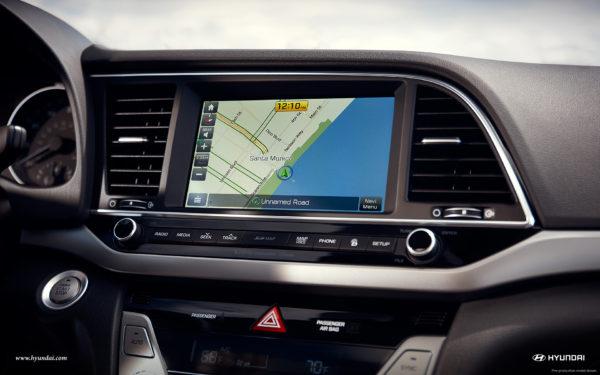 Hyundai Navigation touchscreen display in 2017 Elantra sedan