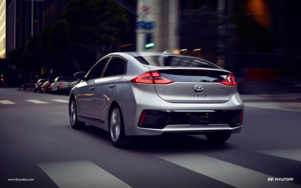 new hyundai ioniq on city road
