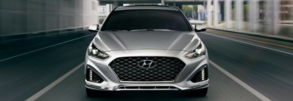 Silver 2018 Hyundai Sonata driving toward the camera