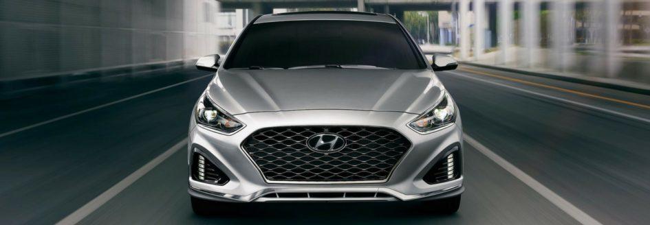Silver 2018 Hyundai Sonata driving toward the camera