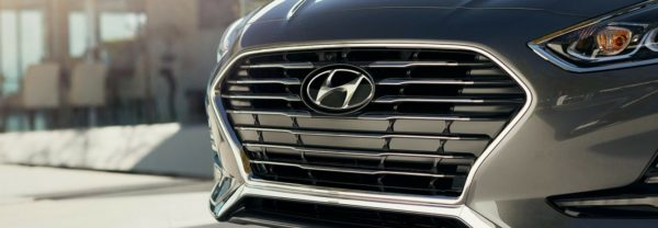 A close-up of the 2018 Hyundai Sonata's grille featured in a blog about the Hyundai World Skill Olympics
