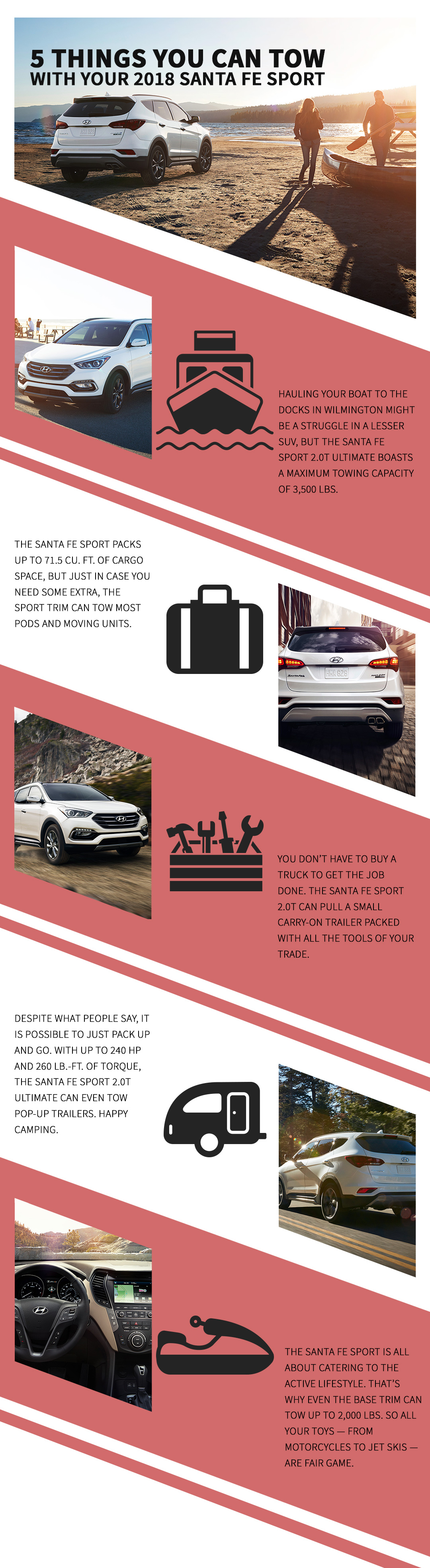 A custom infographic showing five items the 2018 Hyundai Santa Fe Sport can tow