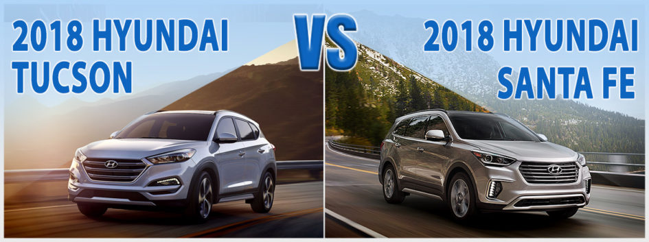The 2018 Hyundai Tucson facing off against the 2018 Hyundai Santa Fe