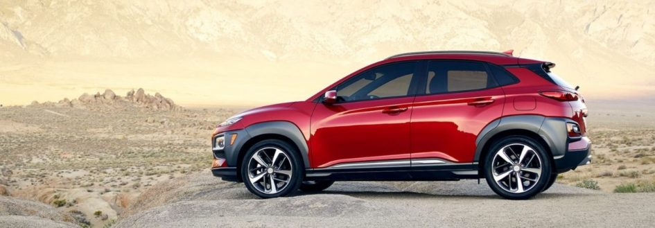 2020 hyundai kona parked on a rock in the mountains